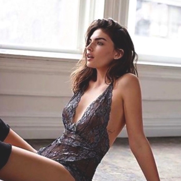 Free People Lace Bodysuit Too Cute Charcoal XS